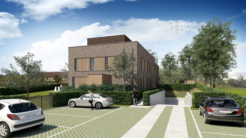 Render private parking en inkom moderne Residentie Bigardis in Groot-Bijgaarden