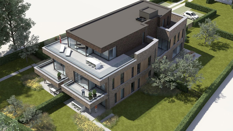 Render bovenaanzicht moderne Residentie Bigardis in Groot-Bijgaarden