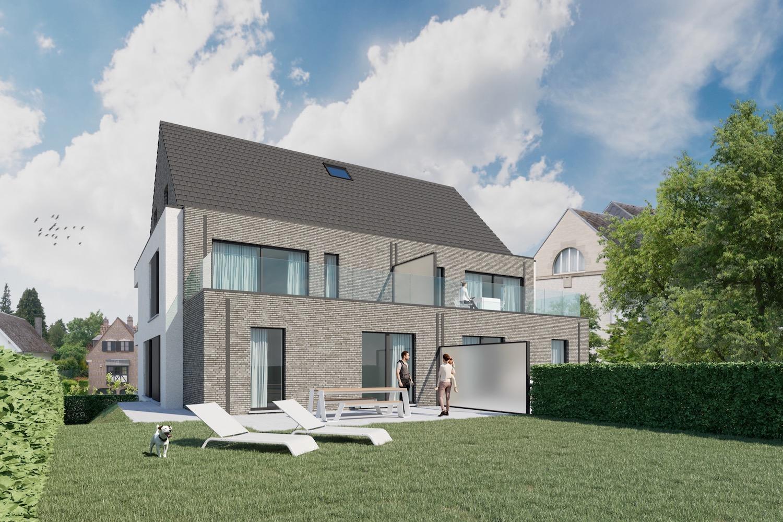 Render achterkant met terras strakke nieuwbouw residentie