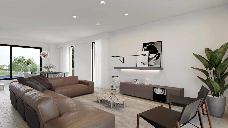 Render leefruimte strakke nieuwbouw residentie