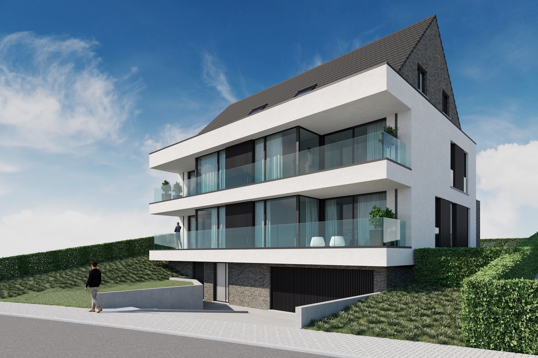 Render voorkant strakke nieuwbouw residentie