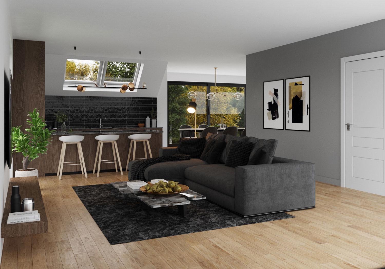 Render leefruimte hedendaags-moderne nieuwbouw appartementen