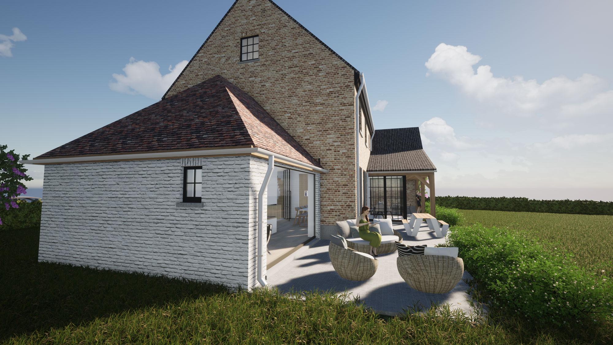 Render zijkant authentieke landelijke woning in Roosdaal