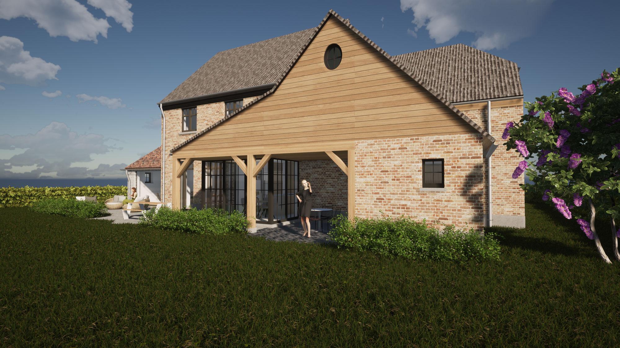 Render detail houten accenten bijgebouw authentieke landelijke woning in Roosdaal