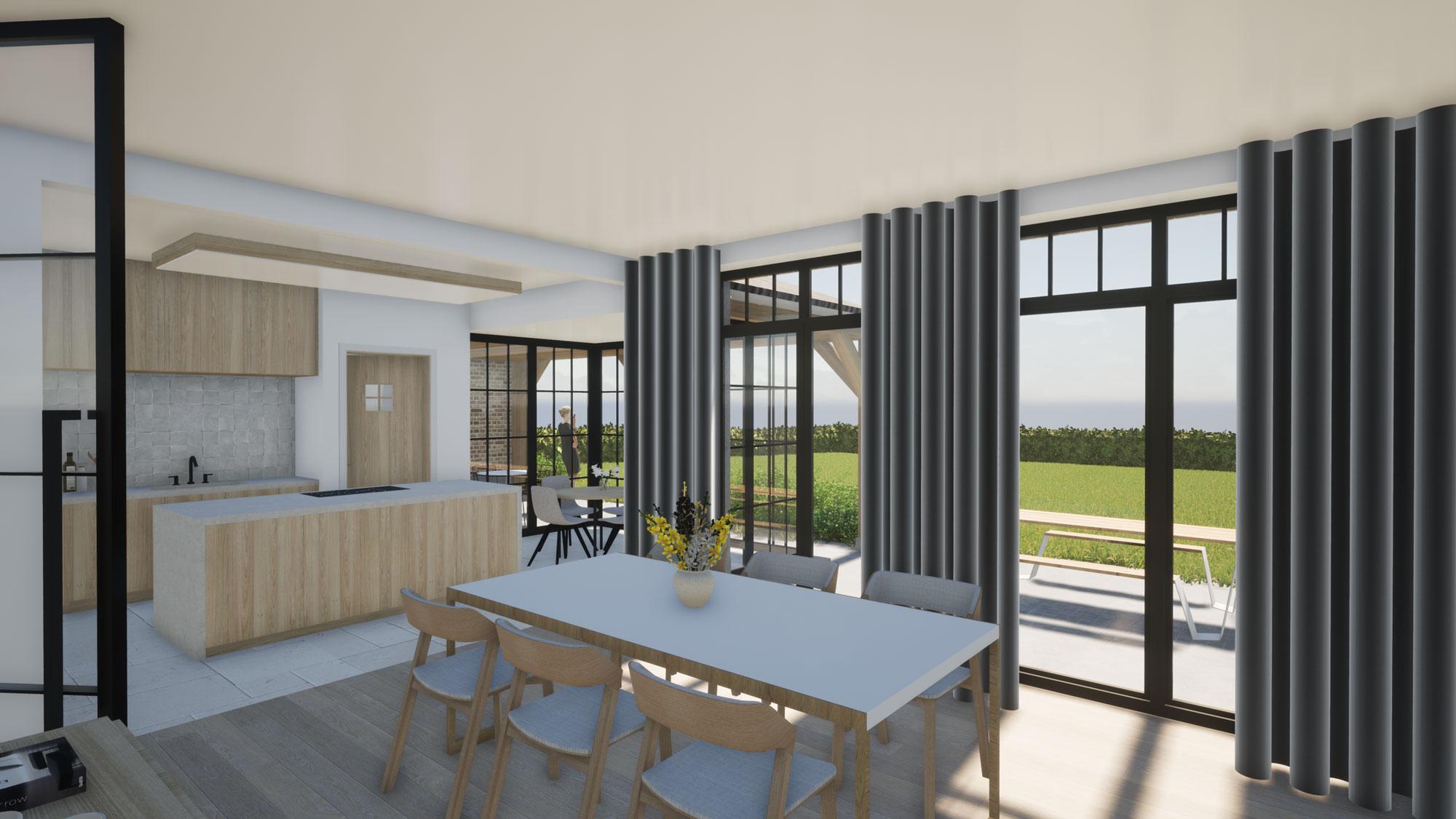 Render detail lichtrijke leefruimte authentieke landelijke woning in Roosdaal