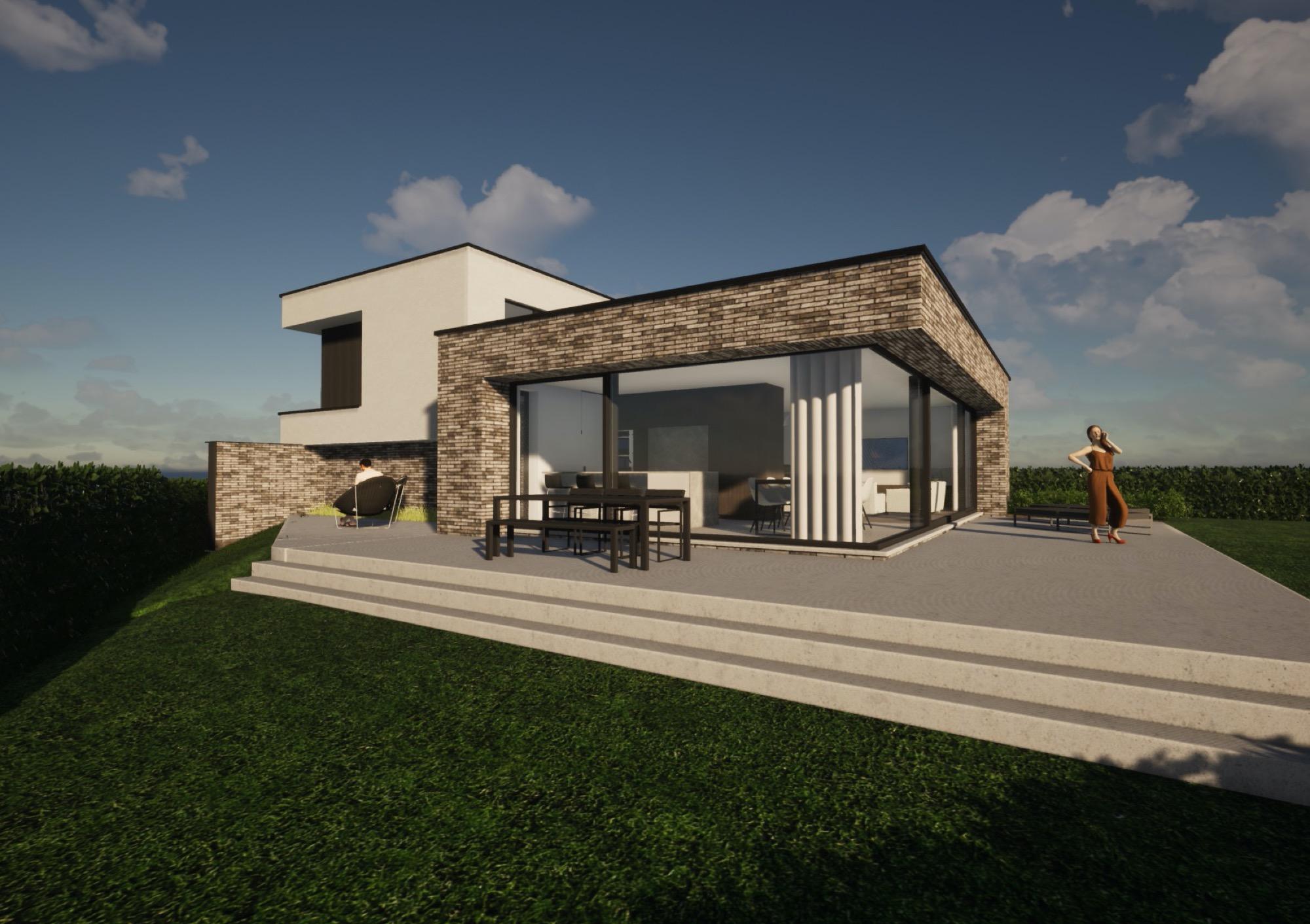Render achterkant met terras strakke nieuwbouwwoning