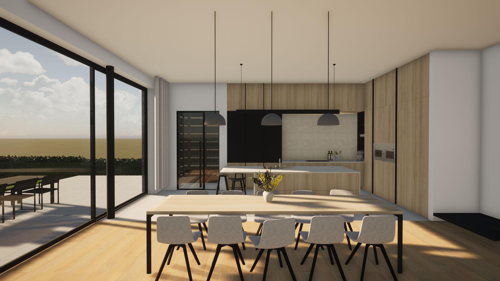 Render keuken met aansluitende wijkamer voor moderne totaalrenovatie in Herne