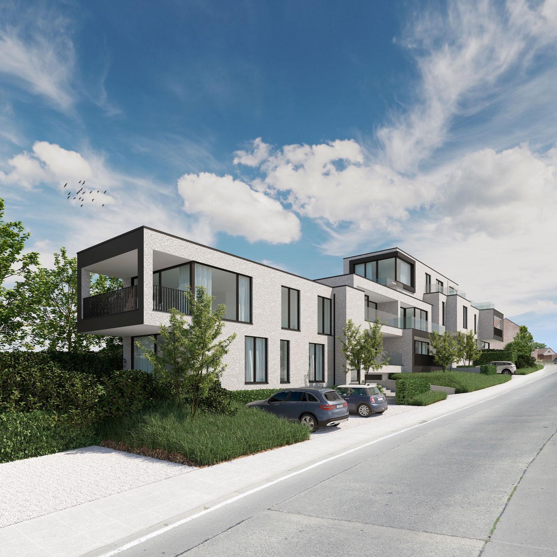 Render voorkant strakke Residentie Dr.Roossens in Roosdaal