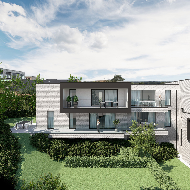Render achterkant strakke Residentie Dr.Roossens in Roosdaal