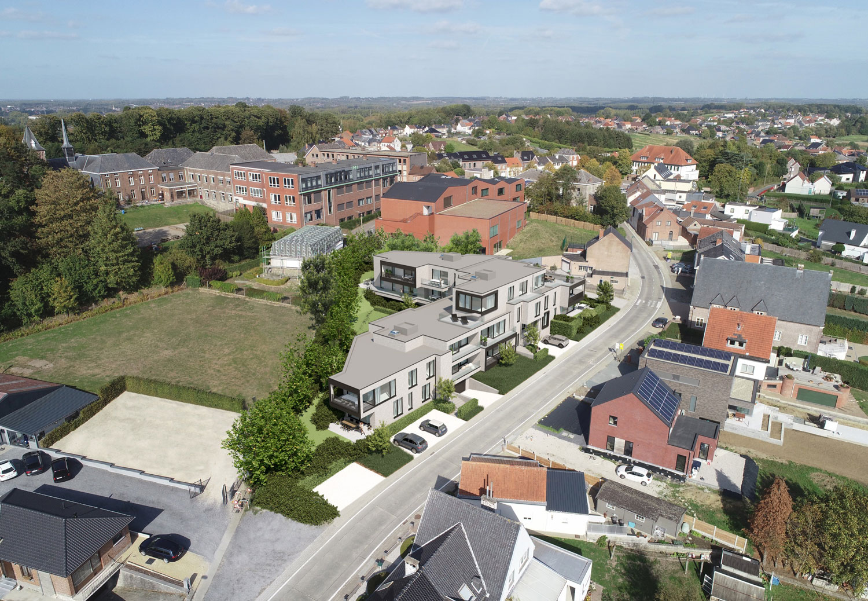 Render bovenaanzicht strakke Residentie Dr.Roossens in Roosdaal
