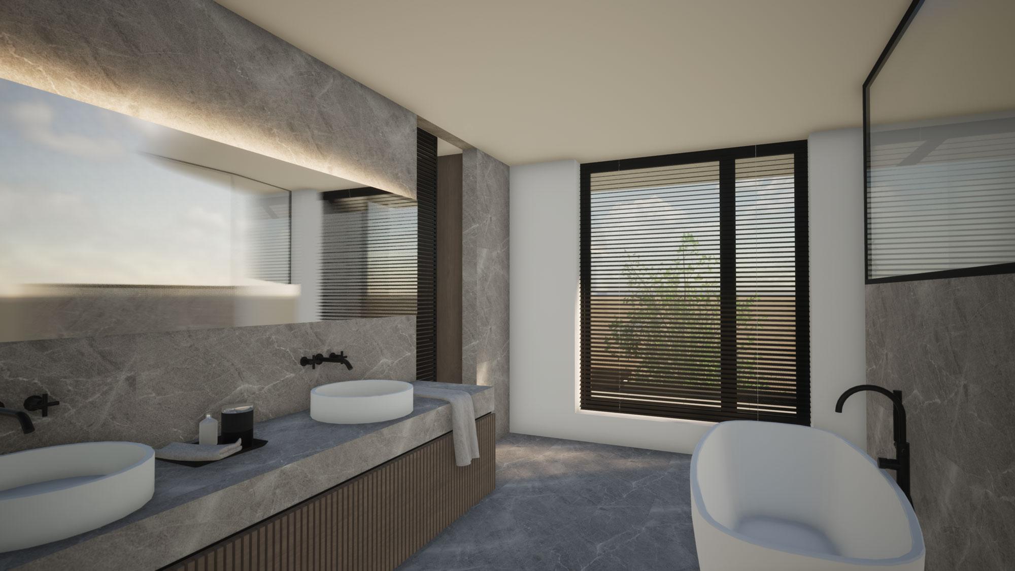 Render detail strakke badkamer nieuwbouw in Koksijde