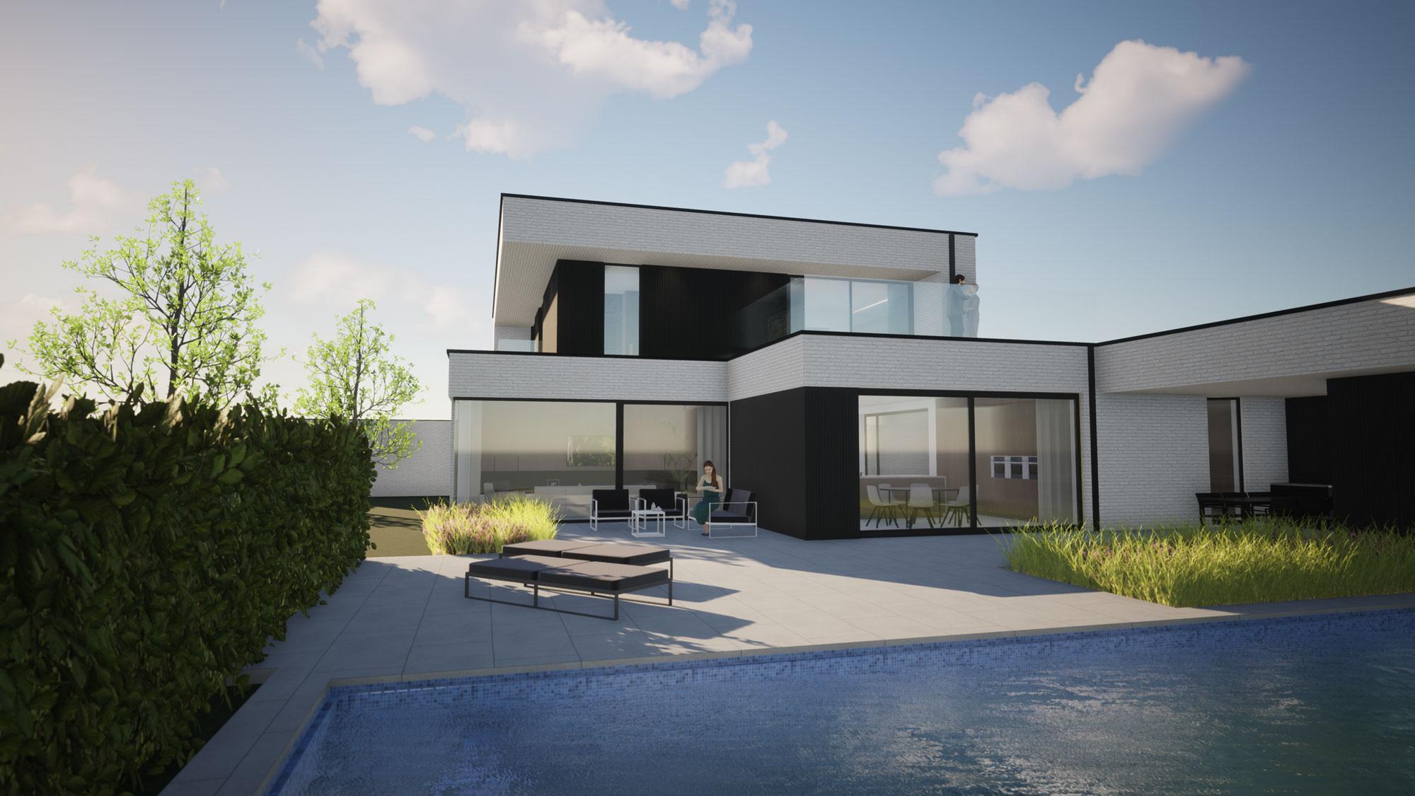 Render achterkant met zwembad en poolhouse strakke nieuwbouw in Koksijde