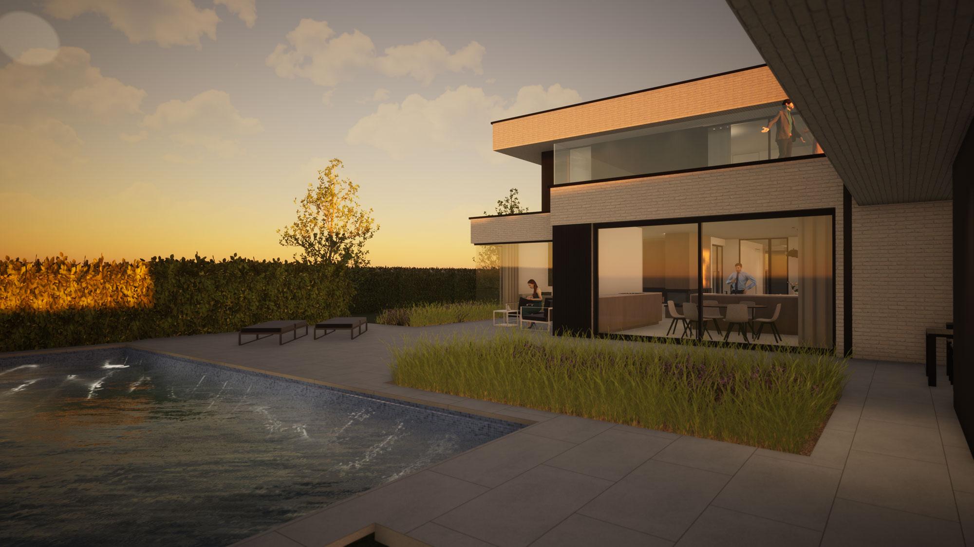Render detail zwembad en achterkant strakke nieuwbouw in Koksijde