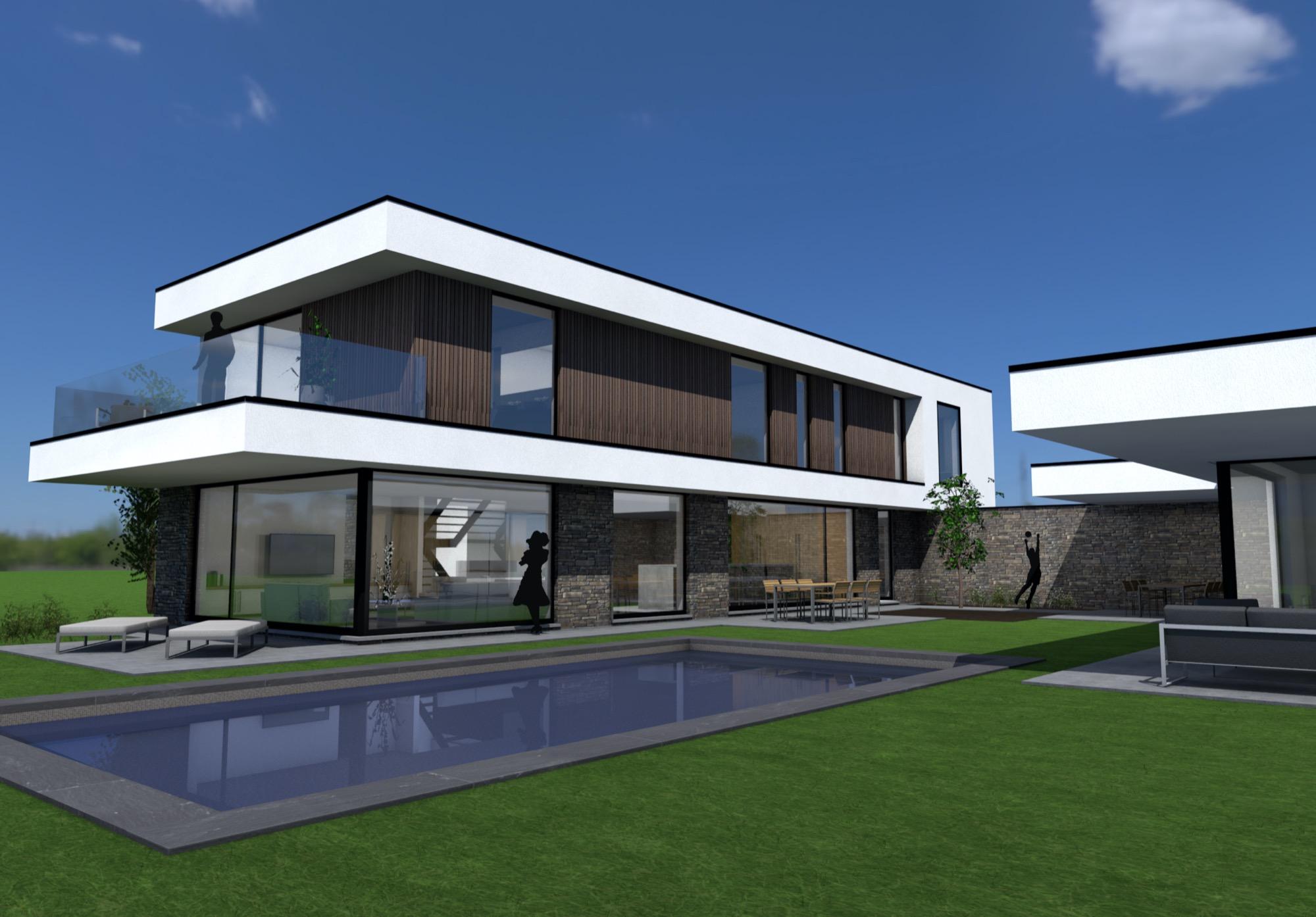Render achterkant moderne woning met terras en zwembad