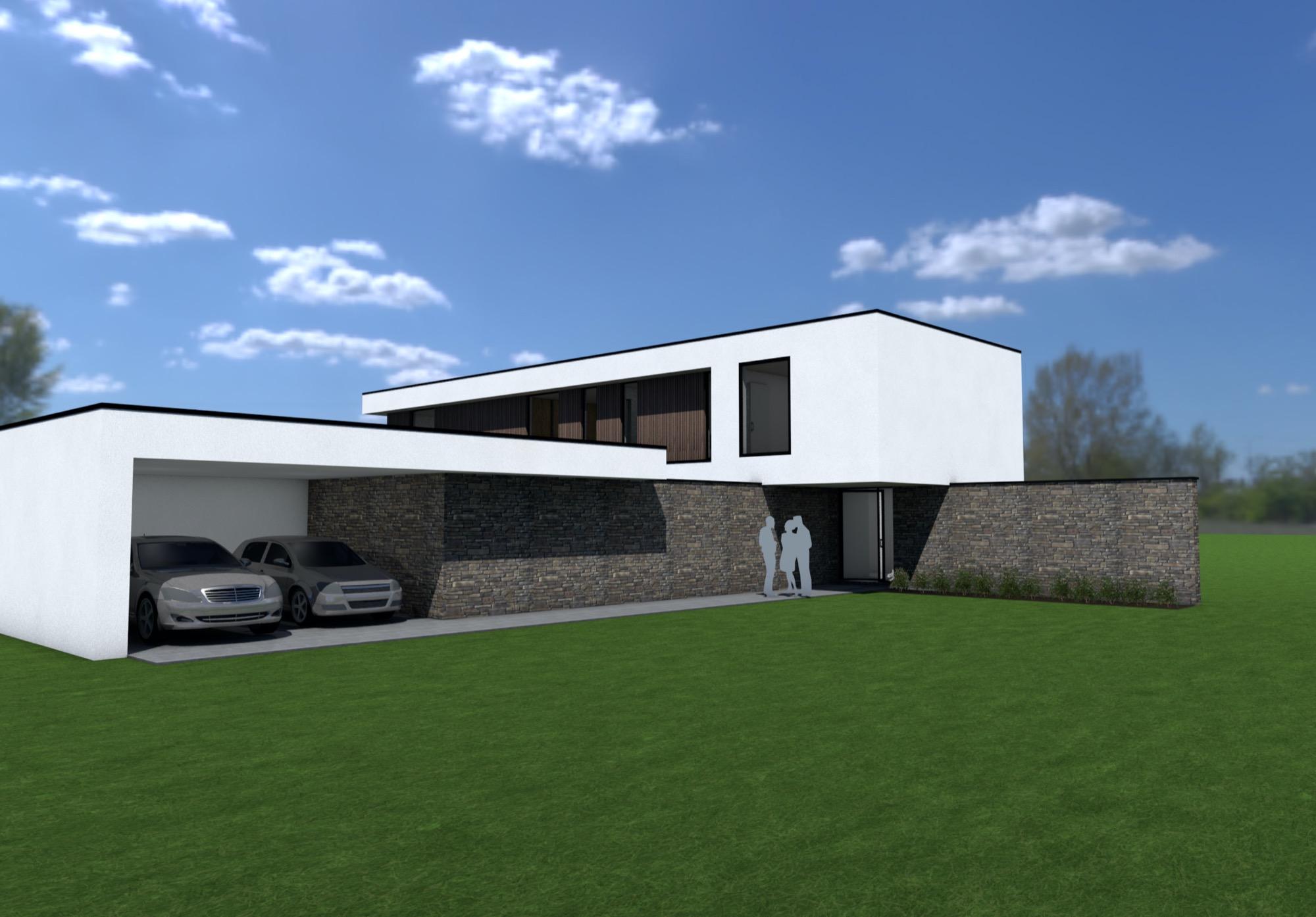 Render zijkant moderne woning met zwembad