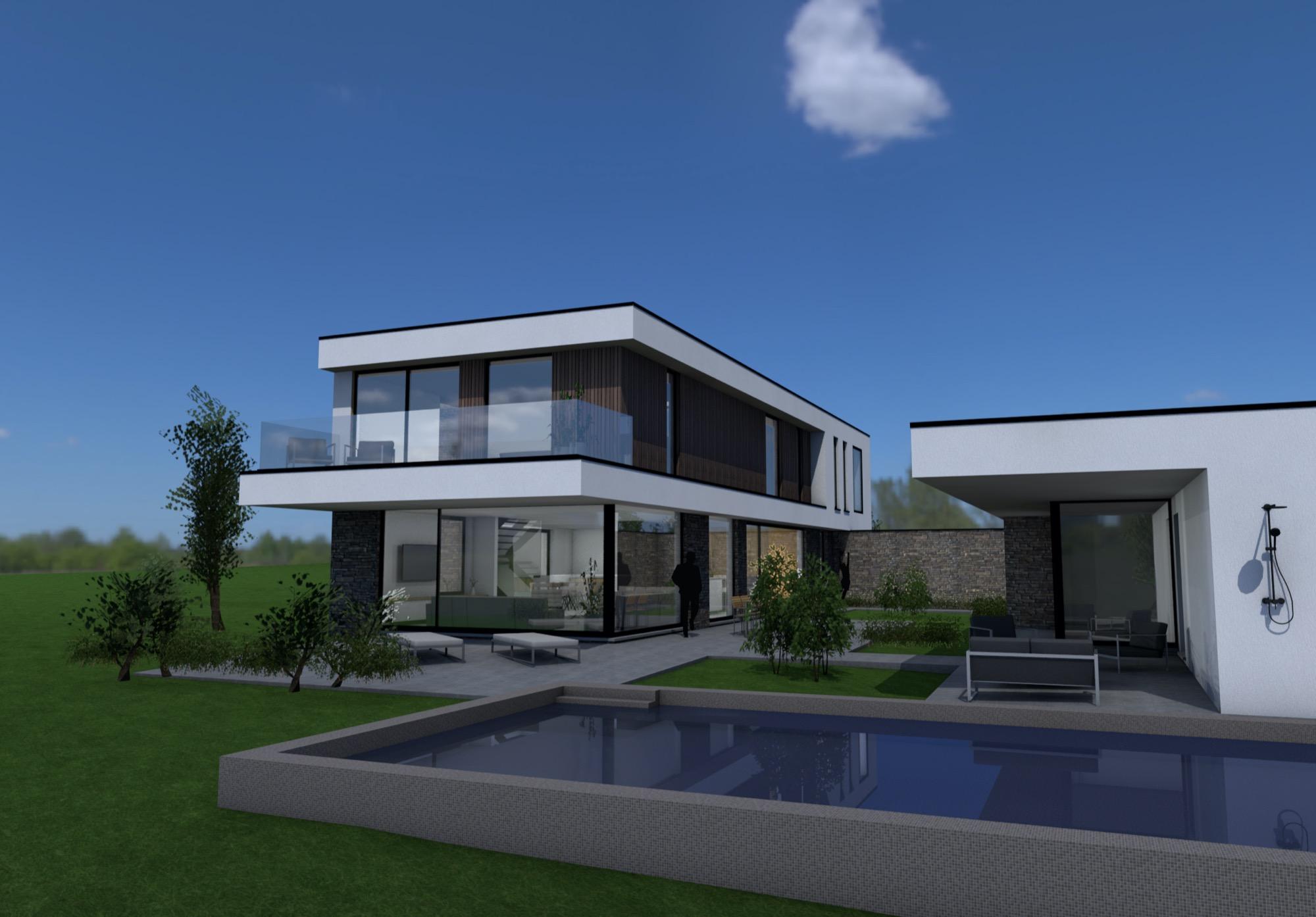 Render achterkant moderne woning met zwembad