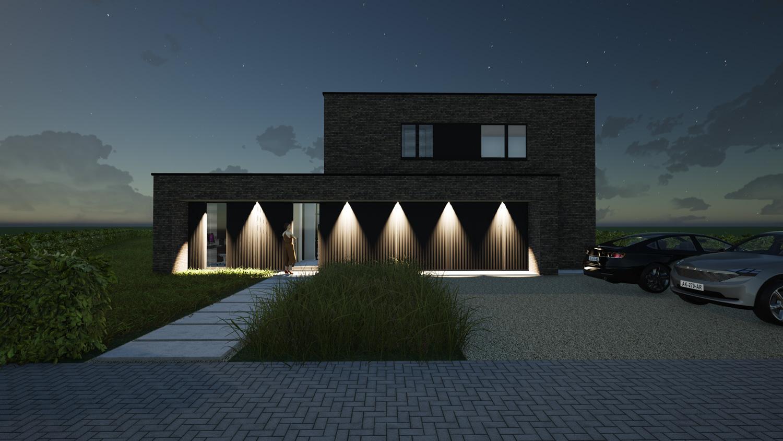 Voorgevel hedendaags-moderne villa 's nachts