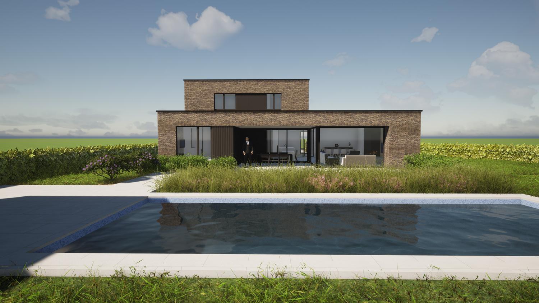 Achterkant hedendaags-moderne villa